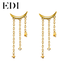 EDI Unique Natural Real Diamond Moon Drop Earrings For Women 14K 585 Yellow Gold Fashion Tassels Earrings Fine Jewelry Gifts(China)