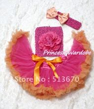 Hot Pink Orange Baby Pettiskirt, Hot Pink Peony Hot Pink Crochet Tube Top, Hot Pink Headband Orange Bow 3PC Set MACT113