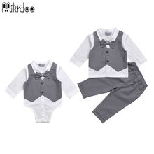 Mikrdoo kids baby boy clothes suit vest+bow shirt romper+pants fake 2 pieces formal gentleman wedding clothing set Age 0-2 Years