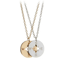 Jewelry Compass letter Pendant necklace zinc alloy round pendant manufacturers wholesale Agent Gift(China)