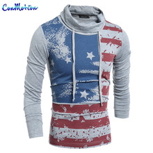 European Style Men's Fashion Turtleneck Long Sleeve T shirts Brand Clothing Leisure T-shirts United States Flag Printing