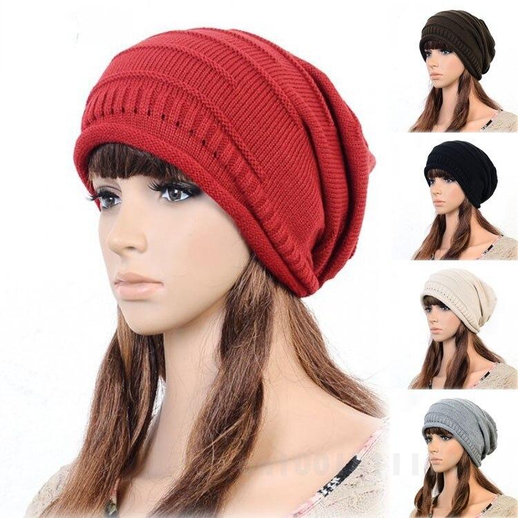 New Fashion Autumn Winter Warm Unisex Women Men Slouch Cap Plicate Baggy Beanie Knit Crochet Ski Hat Knitted Hats Casual Caps Îäåæäà è àêñåññóàðû<br><br><br>Aliexpress