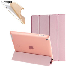"4-fold pu leather case For iPad 2 3 4 9.7"" Tablets tpu back soft slim protective smart stand cover for iPad 2 iPad 3 iPad 4+Pen(China)"