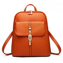 Casual PU Pratical Schoolbag Traveling Bag Zipper Elegant Women Backpacks Orange