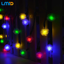 Solar Lamp 6M 19.68FT 30LEDs Snowball Sensor Waterproof Outdoor Lighting Garland Christmas Decoration Fairy String Light - Lmid Official Store store