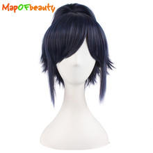 "MapofBeauty short curly 12""/30cm Black Mix Blue Cosplay wigs Men Synthetic Hair Claw Ponytails Heat Resistant Free shipping"