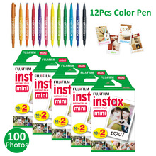 100 Sheets White Fujifilm Instax Mini 8 Film Papers Photos + Free Gift 12Pcs Drawing Pens For Fuji Instant 7s 25 50s 90 Camera