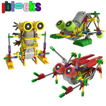 IBLOCKS Creative DIY Assemblage Electric Motor Robots Models & Building Toys Hobbies Children Educational Gear Blocks For Boys