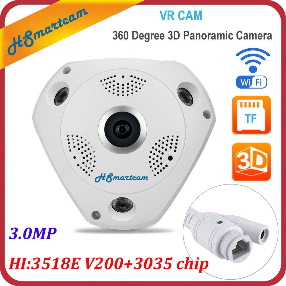 New 3D VR Camera 360 Degree Panoramic Wifi IP Camera HD 3.0MP FIsheye WIreless Camera IP SD/TF Card Slot (Hi:3518E V200+3035)<br>