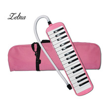 32 Keys Melodica Set Student Children Beginner Musical Instrument Keyboard Case Harmonica + Bag + Blowpipe Mouth Organ Pink/Blue
