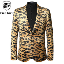 Fire Kirin Mens Leopard Print Blazer 2017 Autumn Slim Fit Mens Velvet Blazers Wedding Party Blazer Jacket Prom Stage Wear Q30(China)
