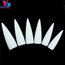 500pcs White Half Cover Long Stiletto False Nail Art Tips High Quality Decorated Fake Nails French Acrylic UV Salon Makeup Set(China)