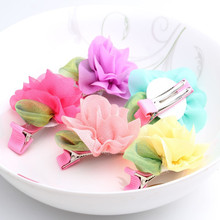 Hot Sale Summer Style chiffon Wraped clip barrettes Flower and Leaves Children Hair Accessories infant hairpins Baby Hair Clips