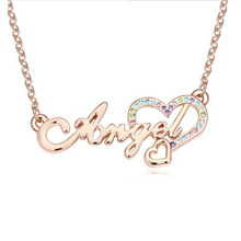 New 2014 Design Heart Necklace Crystal Pendant Necklaces & Pendants for Female Angel Wings Rhinestone Jewelry Silver Plated