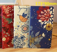 1pcs/lot 173*90mm Vintage Garden Flower Birds series Kraft Paper notebook Korea style agenda Diary blank inner planner retail(China)