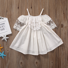 2017  Kids Baby Girls Lace Lovely Short Sleeve New Summer Toddler White A-Line Tutu Dress Princess Party Pageant Holiday Dresses