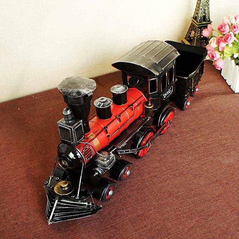 Antique Imitation 1892 Steam Railway Engine Model, Vintage Train Head With Bucket Miniatures, Hand Made Metal Crafts Train Model