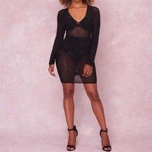 Bigsweety Black Rhinestone Mesh Dress Women Perspective Deep V-Neck Long  Sleeve Sexy Dress 2018 Women Party Bodycon Dress 554ca13a6347