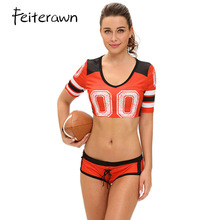 Feiterawn World Cup 4 Color Sexy Red Fantasy Football Costume Set Sports Cosplay Women Uniform Sexy Cheerleader Costumes DL8891(China)
