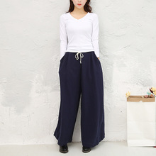 Women Cotton Linen Wide leg Loose Pants Ladies Elastic Waist Plus Size Solid Color Pants Female Big Size Trousers