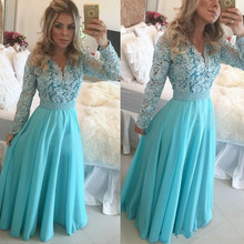 Modest Long Sleeves Blue V-neck Pearls Lace Chiffon A-Line Floor Length Evening Dresses 2017