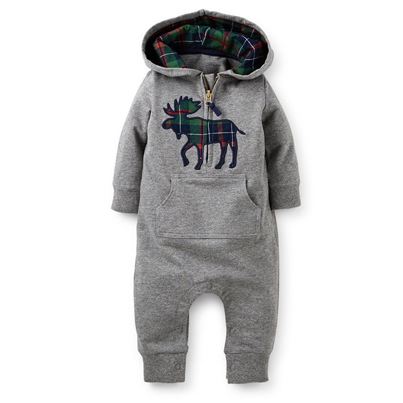 Newborn Baby Rompers Long Sleeve &amp; Hats Winter Boy Girls Romper Exclusive Deers Clothing Cotton Character Thicken Rompers CL0611<br><br>Aliexpress