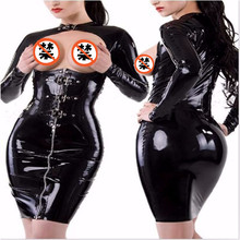 Buy 2018 Women Sexy PVC Hole Black Leather Latex Dresses Wet Look Leather Bodycon Catsuit Bondage Clubwear Costume Game Uniforms