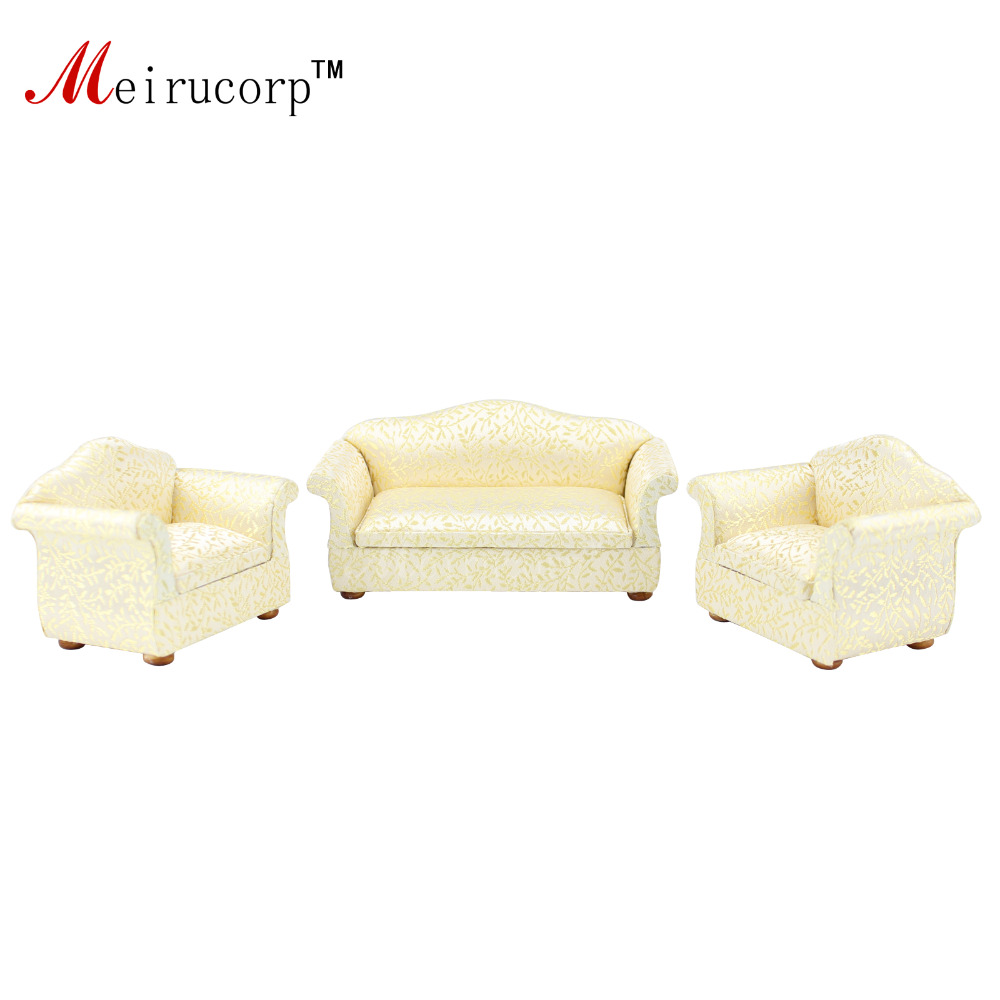 Dollhouse 1/12 scale miniature furniture Luxuriant Fabric art 2 chairs and sofa set<br><br>Aliexpress