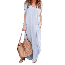 Buy Loose Beach Casual Dresses Women Summer Long Maxi Dress 2017 Short Sleeve Pockets Sexy Side Split Plus Size Vestidos Robe GV828 for $9.49 in AliExpress store