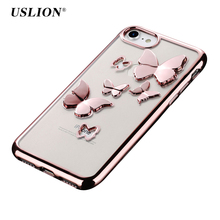 USLION For iPhone 7 Case For iPhone 6 6s Plus Clear Plating Hollow Butterfly Phone Cases Transparent Soft TPU Back Cover Capa