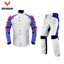DUHAN Men's Motorcycle Kits Ventilation Protective Jacket + Hip Protector Pants Motorcycle Protector Motocross Gear Moto Suits(China)