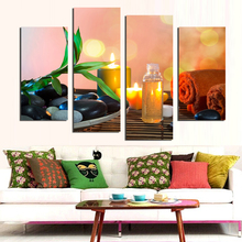 Candle stone Painting Canvas Art Abstract Modern Living Room Wall Decor Set Of 4 Piece Picture Unframed Artworks(China)