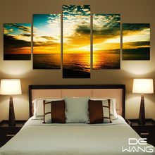 Drop-shipping 5 Pieces Wall Art Canvas Paintings Blue Sky Lake Trees Mountains Pictures for Living Room Home Decor Poster Print
