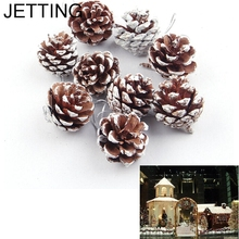 JETTING 9pcs Christmas Tree Hanging Balls Pine Cones Pinecone Xmas New Year Holiday Decoration Ornament Home Parties Supplies