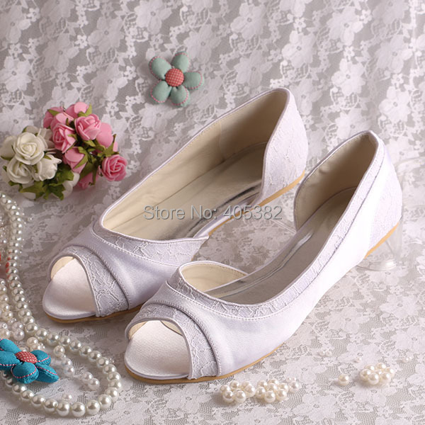 Wedopus Wholesale High Quality Ladies Women Flat Shoes White Lace and Satin Open Toes<br>