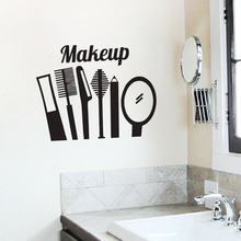 Makeup Tools Wall Stickers Home Decor Fashion Cosmetics Wall Decals Vinyl Girls Bedroom Wall Murals Interior Design(China)