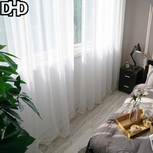 DHD Sheer Curtains for Kitchen Tulle Curtains For Living Room Window Curtains for Bedroom Roman Curtain Tulle for Windows(China)