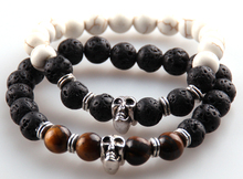 Free shipping 8m Lava &Tiger Eye and  White Semi Precious Stone Beads Skull Beads Bracelets for Men's Jewelry