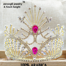 "zerongE jewelry 4.1"" pageant gold rose pink hair tiara crown miss world jewelry gift rhinestone tiara for party/wedding(China)"