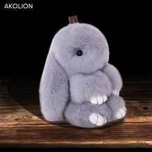 AKOLION Rabbit Keychain Fluffy Bunny Keychain Genuine Rabbit Fur Pompom Key Ring Pom Pom Toy Doll Bag Car Key Holder 15CM