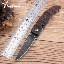 KKWOLF military army tactical pocket knife survival Black Stone wash Blade Wenge wood hunting knife Outdoor camping tool gift