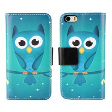Case For Apple iPhone 4 4s SE 5 5s Cover Wallet Leather Cute Green Owl Stand Holder Mobile Phone Bags Shell Coque Etui Capinhas(China)