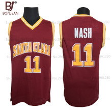 Wholesale Cheap College Basketball Jerseys #11 Steve Nash Jersey Santa Clara Throwback Stitched Burgundy Red Mens Shirts(China)