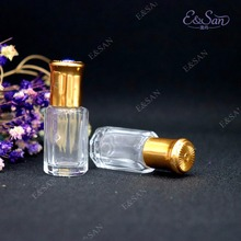 Portable Perfume Bottle Wholesale 6ml Gold Cover Roll On Perfume Dispensing Empty Bottle 100PCS/LOT(China)