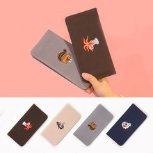 Funny Octopus Squirrel Penguin Animal Old man Cute Canves Wallets Unisex Fashion Simple Temperament Long purses Hasp Love Wallet(China)
