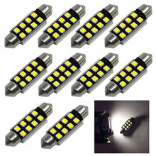 10pcs 12V Car Light 31mm 36mm 39mm CANBUS C5W Led Light Bulb 2835 SMD License Plate Lights Festoon Dome Lamp Free Shipping New