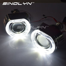 SINOLYN X5 Square LED Angel Eyes Devil Halo DRL Bi Xenon Lens Car Projector Headlight HID Auto Tuning Kit H4 H7, Use H1 Bulbs(China)