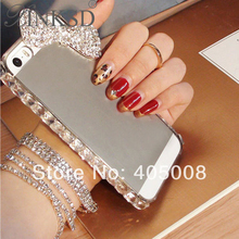 New Clear Diamond Bling Case For Apple iPhone 5 5S 4 4s For iPhone5 Cases Rhinestone Hard Bowknot Cell Phone Cover For Huawei P6