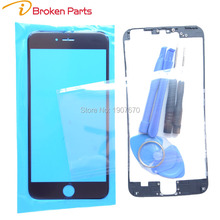 A+Touch Panel For iPhone 6 6s Plus 5 5s 5c Front Screen Lens Outer Glass+Middle Frame Bracket+OCA Repair kits Replacement Part(China)