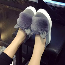 autumn winter Women's flats faux fox fur Ears cute shoes woman casual flat on platfoms lazy shoes slip on low Shoes ladies